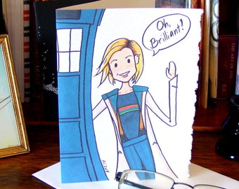 Doctor Who Card - Thirteen says Oh Brilliant - Birthday Card with the 13th Doctor