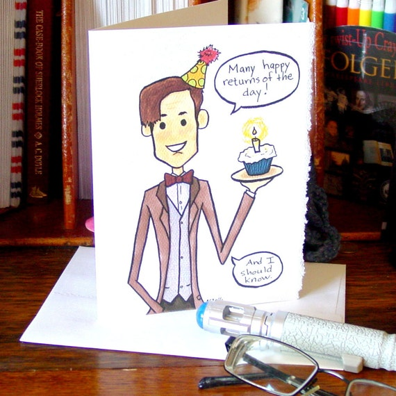 Doctor Who Birthday Card Eleventh Doctor Many Happy Etsy