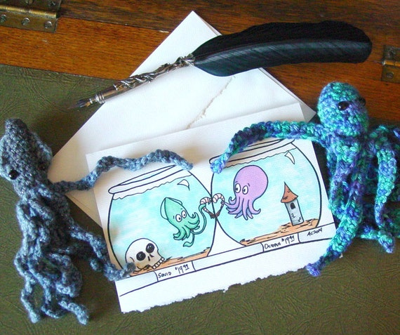 I Miss You Card Squid And Octopus Shrimp Crossed Lovers Etsy
