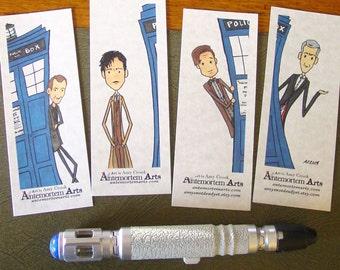 4 Doctor Who Bookmarks - Nine Ten Eleven Twelve TARDIS