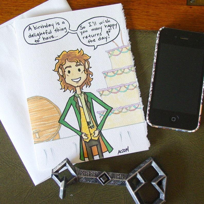 Bilbo Baggins Hobbit Birthday Card Many Happy Returns