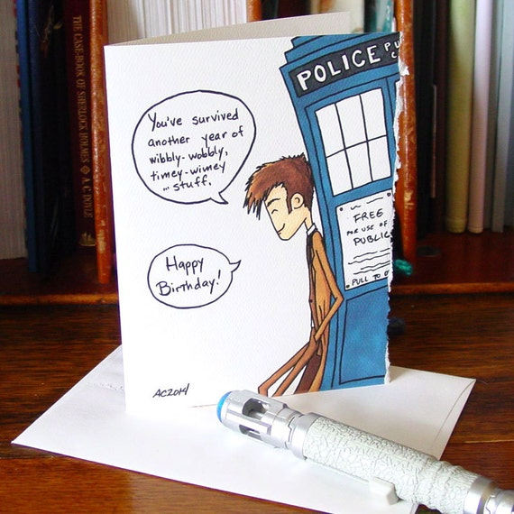 Doctor Who Birthday Card Tenth Doctor Timey Wimey Etsy