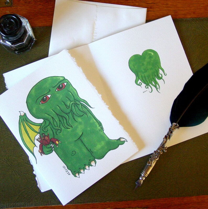 Cthulhu Greeting Card  say I Love You with a bouquet of image 0