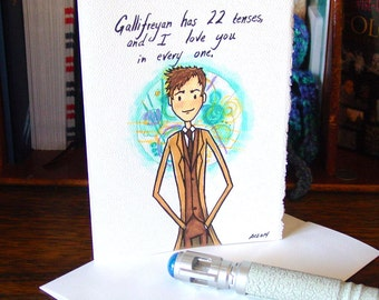 Doctor Who Greeting Card - Tenth Doctor - I Love You - Gallifreyan