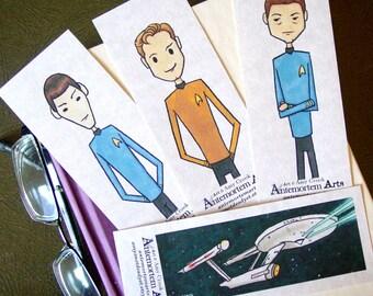 Star Trek Bookmarks - set of 4 - STTOS Kirk Bones Spock Enterprise