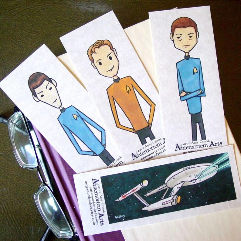 Star Trek Bookmarks  set of 4  STTOS Kirk Bones Spock image 0