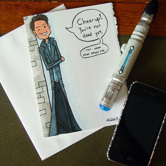 Doctor Who Birthday Card Captain Jack Harkness Cheer Up Etsy