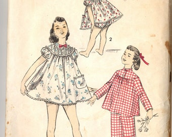 805709c420 1950s Sewing Pattern Childs Two Piece Pajamas and Shortie Set Size 10  Breast 28 Waist 24 Advance 7803