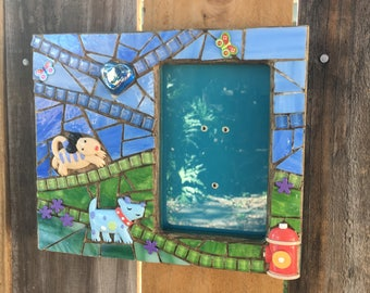 Whimsical Puppy Dogs mosaic photo frame