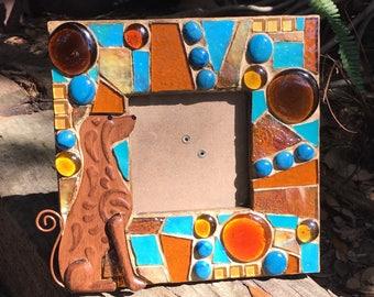 Brown Dog mosaic photo frame