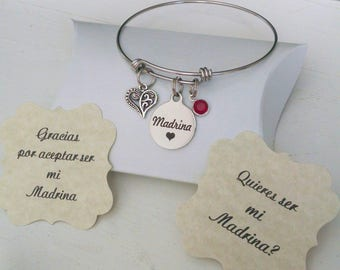 Madrina, Gift For Madrina, Will You Be My Madrina, Madrina Bracelet, Mothers Day, Comes with Cards