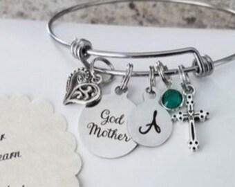 Godmother Bracelet, Godmother Gift, Will You Be My Godmother, Godmother Proposal,  Asking Godmother, Stainless Steel Adjustable Bangle