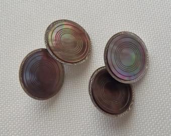 Antique Cuff Links Swank B /& W Plate Gray Abalone