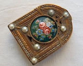Vintage French Enamel Pearl Compact Case Pill Box