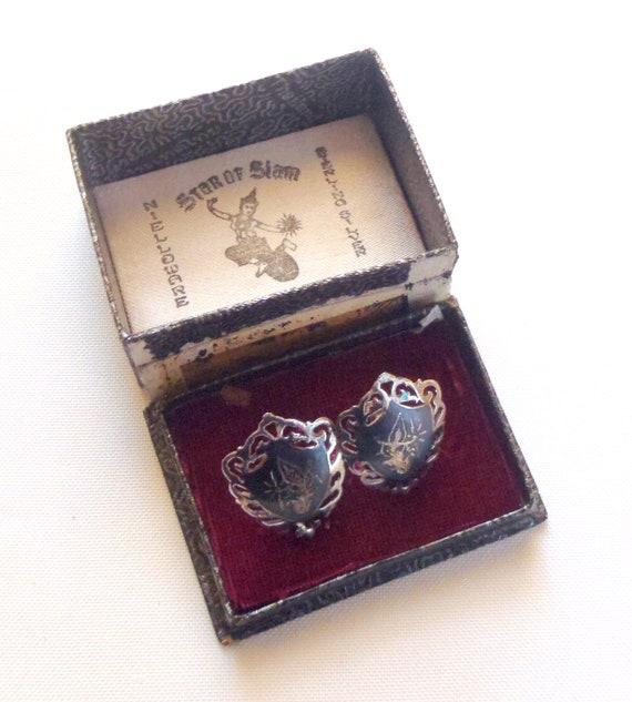 Vintage Earrings Star of Siam Black Enamel Dancers