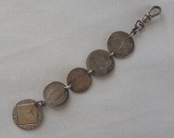 Vintage Love Token Coin Pocket Watch Fob