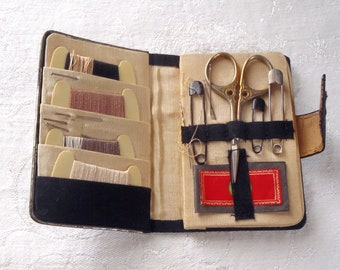 Vintage Travel Sewing Kit with Purse Mirror