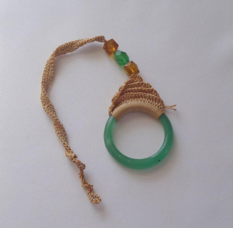 Vintage Green Glass Ring Shade Pulls Ecru Crochet 5 Pc.