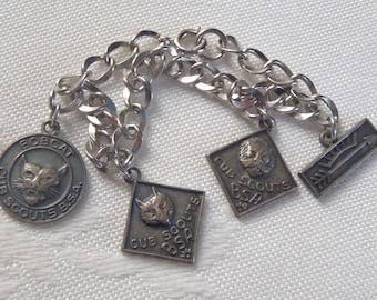 Vintage Boy Scouts of America Charm Bracelet Sterling Silver