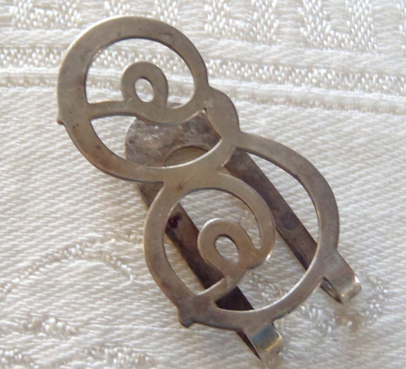 Vintage Napkin Clip Sterling Silver A Wagner Initial E L