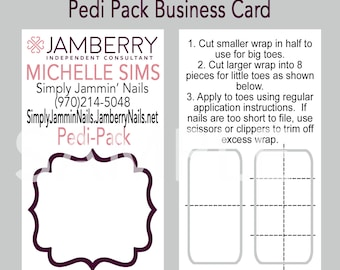 Jamberry business cards etsy jamberry nail personalized pedi pack business card reheart Image collections
