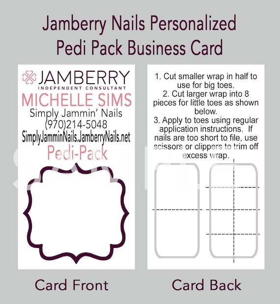 Jamberry nail personalized pedi pack business card reheart Choice Image