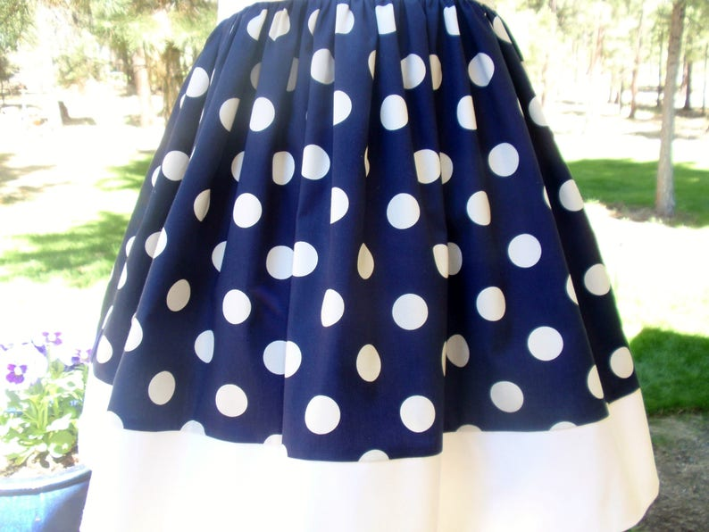 ON SALE Girls Nautical Dress Handmade Cotton Dress Navy and White Polka Dot Dress Baby Girl Nautical Dress Toddler Summer Dress