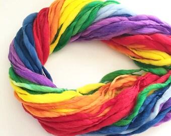 Handspun rainbow yarn, 50 yards, self striping, handspun super bulky in merino wool - 3 ounces/ 86 grams