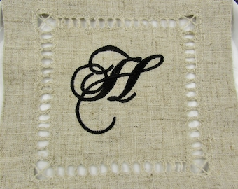 Monogrammed Linen Cocktail Napkins, no ironing required, easy care cocktail napkins monogrammed in your choice of thread, the perfect gift