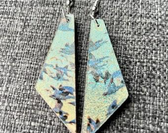 Tropical Birds in Flight - unique, reversible, lightweight, recycled decoupage wood art earrings