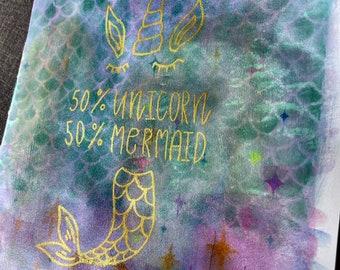 Unicorn/Mermaid - large blank book - journal insert - Grimoire - Book of Shadows