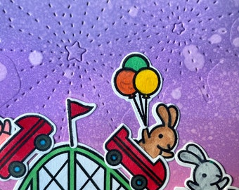 Summer Night - roller coaster critters - personalized greeting card