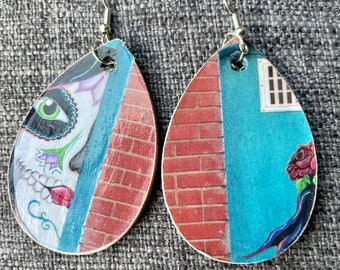 Decorative Entryway and Doors architecture themed recycled decoupage  wood art earrings