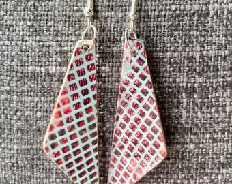 Teal and Red textured fishnet - unique, reversible, lightweight, recycled decoupage wood art earrings