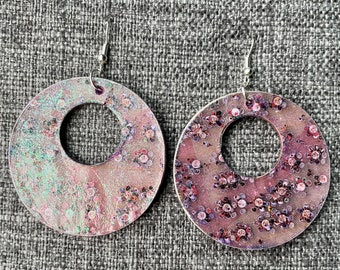 Beach Aerial Photo or Cherry Blossoms - wood decoupage art earrings - Great gift for Mom