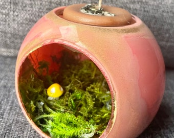 Fairy Garden Hand Painted Glass Candle Globe - Small for tea lights and votive