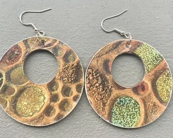 Gaia earth goddess wood decoupage art earrings