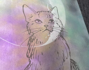 Kitty in the Moon - large blank book - journal insert - Grimoire - Book of Shadows