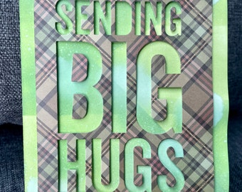 Big Hugs and Lots of Love Handmade Greeting Card in Dappled Greens and Plaid