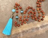 Amazonite Yoga Gifts Red Wood Mala Beads Womens Light Blue Tassel Necklace Yoga Jewelry Redwood Unbreakable Mala Necklace Sky Blue Tassel