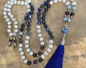 Hand Knotted Mala Beads Angelite Amethyst Sodalite White Jade Yoga Gifts Bohochic Blue Tassel Necklace Boho Jewelry Meditation Beads Blue