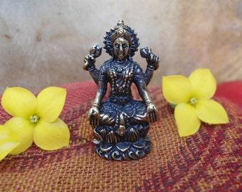 LAKSHMI STATUE  Portable Meditation Tiny Altar Goddess of Wealth Abundance Fortune Prosperity Seated Lakshmi Statuette Hindu Shrine Statue