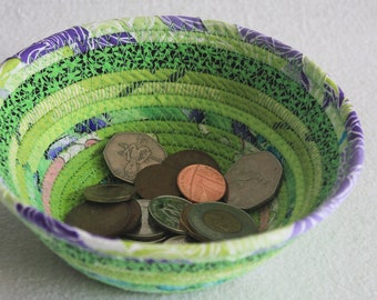 Small Coiled Fabric Bowl / Round Coiled Clothesline Bowl / Fabric Wrapped Basket / Eco Lime Green by PrairieThreads