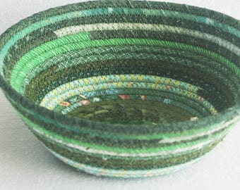 Fabric Coiled Basket / Coiled Clothesline Bowl / Rope Basket / Fabric Pottery / Eco Green Medium Oval by PrairieThreads