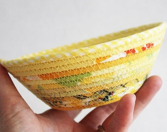 Small Fabric Bowl / Rustic Basket / Yellow Bohemian Round Coiled Bowl by PrairieThreads