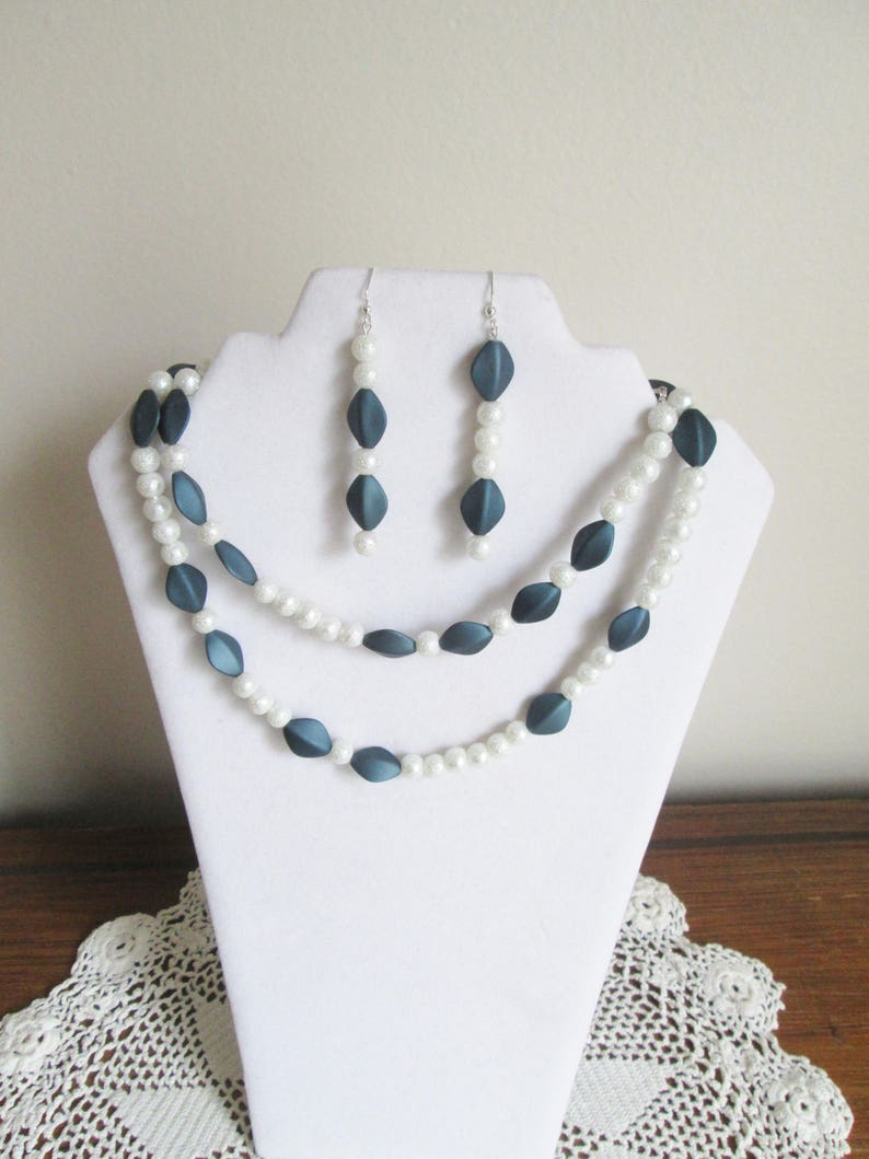 Turn the Beat Around Diva Statement Necklace Unique and Fun Necklace Denim Friendly Necklace Teal Blue and White Asymmetrical Necklace