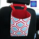 Travel Trash Container, Trash Bag, Car Accessory, Gift For Her, Car Trash Bag, Deco Fabric, Aqua & Red Fabric,