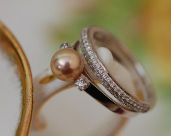 Bente - Diamond-accented Pearl engagement ring features a uniquely natural color Freshwater Pearl set in solid 14kt white gold. Free ship US