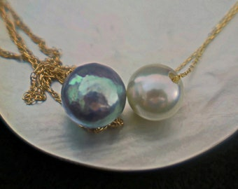 Noelani -Floating Akoya Pearl pendant necklace in White or Blue/Gray set on solid 14kt gold chain. Free shipping US.