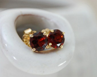 Nakhti - Stud Earrings feature richly colored Garnet gemstones set in solid 14kt yellow gold, FREE SHIP US